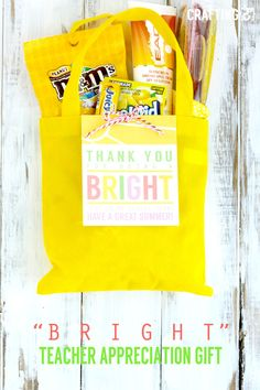 """Bright"" Teacher Appriciation Gift - Craftinge{E} ""Bright"" teacher appreciation gift idea + free printable tag. Cute idea for a gift with gift tag! Should you have a passion for arts and crafts an individual will really like this info! Teacher Gift Baskets, Teacher Gifts, Teacher Treats, Classroom Treats, School Gifts, Student Gifts, Student Teacher, School Stuff, Free Printable Tags"