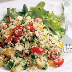 Recipe of the Day: Quinoa Smoked Tofu Salad. Warm summer nights call for a light, delicious meal that you can throw together quickly. This colorful salad is both, combining some of summer's best flavors with tofu and quinoa, two fantastic vegetarian sources of protein. #salad #summerecipes #summer #healthyrecipes #lowcalorie #quinoa #tofu #meatlessmonday #vegetarian #vegetarianrecipe