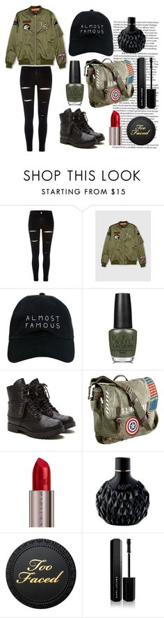 """""""Périlleux"""" by laurenisabae ❤ liked on Polyvore featuring River Island, Pull&Bear, Nasaseasons, OPI, Marvel, Urban Decay, James Bond 007 and Marc Jacobs"""