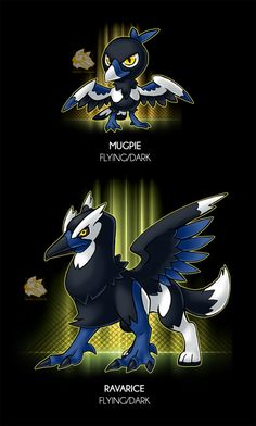 "-Flying/Dark -The Robber Pokemon -Ability:Pickup/Pickpocket - Avaricious(HA)* -Dex: ""This pokemon is known for its lo. Sin of the Greed Oc Pokemon, Pokemon Fusion Art, Pokemon Fake, Pokemon Pokedex, Pokemon Memes, Pokemon Fan Art, Cute Creatures, Fantasy Creatures, Satoshi Pokemon"