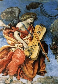 ANGEL con FLAUTA y TAMBOR de CUERDAS Filippino Lippi, Carafa Chapel, Santa Maria sopra Minerva, Rome.