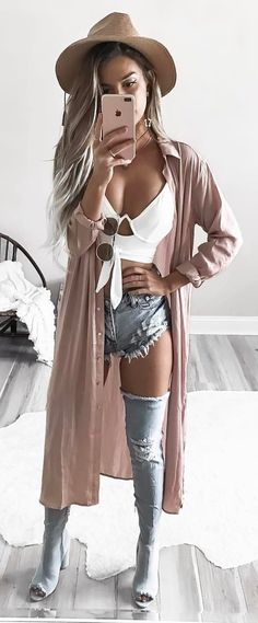 #spring #outfits  Brown Hat + Blush Kimono + White Crop + Ripped Denim Short + Ripped Denim OTK Boots
