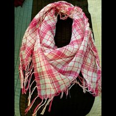 Selling this Pink plaid sheer scarf in my Poshmark closet! My username is: jadeline. #shopmycloset #poshmark #fashion #shopping #style #forsale #Accessories
