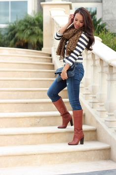 Fall Casual Outfit: Stripes & Leopard with Cognac Boots