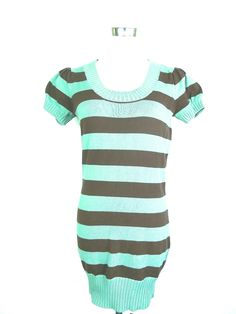 Max Rave Mint and Brown Striped Sweater