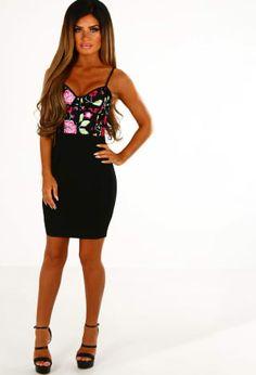 cf203e9bd7f9 Bonsoir Black Embroidered Mesh Bustier Mini Dress ... Pink Boutique Womens  Fashion Online,