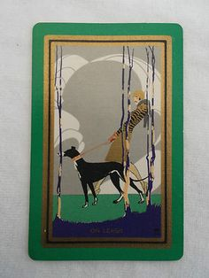 Vintage Playing Swap Cards Art Deco Woman w Dog on Leash Complete Deck | eBay