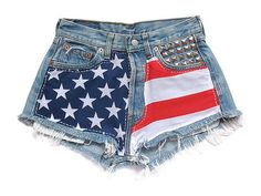 American flag high waisted shorts | #DIY
