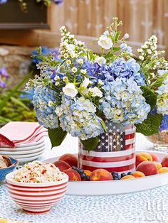 These crafty 4th of July party ideas will help you host a fabulous, patriotic picnic or a Fourth of July gathering nearly anywhere. #fourthofjuly #fourthofjulyideas #fourthofjulyparty #centerpieces #bhg Fourth Of July Decor, 4th Of July Celebration, 4th Of July Decorations, 4th Of July Party, July 4th, Easy Decorations, Patriotic Party, House Decorations, Holiday Decorations