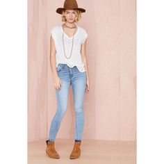Blue Skies Skinny Jeans ($39) ❤ liked on Polyvore