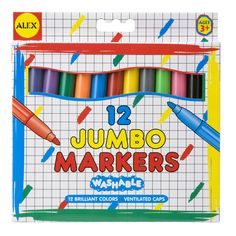 With the Alex toys Washable Jumbo Broad Tip Markers your kid will have a fun time expressing their feeling through drawings. They offer a great variety of colors that are appealing to young kids. The Alex toys Washable Jumbo Broad Tip Markers are washable meaning that you don't have to re-paint your walls after your kids writes on them with these markers. This is a must have item for your kid. The Alex toys Washable Jumbo Broad Tip Markers is both educational and a fun toy for your kid.