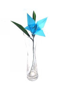 Sky Blue Lily Paper Lily Origami Lily Origami Flower Spring Home Decor Gift for Birthday , Baby Shower or Wedding Decoration by Graceincrease on Etsy https://www.etsy.com/listing/229226561/sky-blue-lily-paper-lily-origami-lily