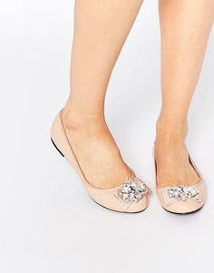 Nude Embellished Bridal Ballet Flat Shoes