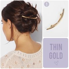 thin short gold bar barrette