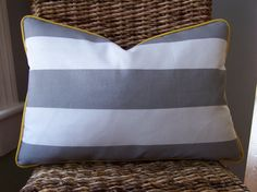 CUSTOM PIPING COLORS Outdoor Gray and White Cabana Stripe