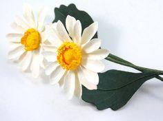 Daisy Single Stem Handmade Paper Flower by CeeBeeRecycle on Etsy