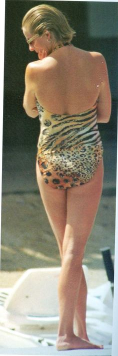 French Riviera 1997..JULY 14 1997 - Diana wearing her leopard print one-piece while on holiday in Saint-Tropez. - .