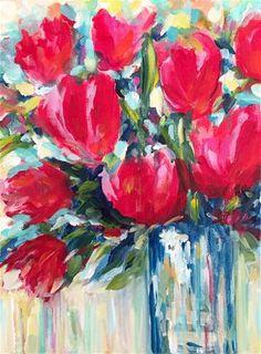 "Daily Paintworks - ""Tulips at Kallam"" - Original Fine Art for Sale - © Melissa Gresham"