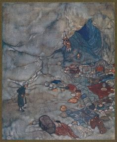 Greater still was the exultation of a greedy nature like that of Cassim's. (Edmund Dulac)
