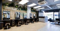 Our latest salon fit out for Hare & Bone salon in Esher, Surrey. Reis design created the salon interior design Barber Shop Decor, Retail Interior Design, Monochrome Color, Spa Design, Urban Industrial, Architectural Features, Surrey, Hare, Relax
