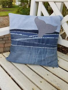 Upcycled Denim throw pillow cover whale tail in water image can find Recycled denim and more on our website.Upcycled Denim throw pillow cover whale tail in water image 3 Artisanats Denim, Denim Purse, Denim Shorts, Blue Jean Quilts, Denim Quilts, White Quilts, Denim Patchwork, Water Pillow, Couture Main