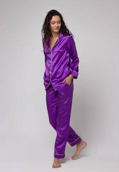 34b0bd52f0 Silk pajamas set Silk long pajama Silk pyjamas womens Silk loungewear  Violet pajama Purple pajama Gi