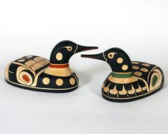 Northwest Coast Native American Loon Sculpture Red or Green Design on Etsy, $826.20
