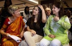 Sachin Tendulkar's wife, Anjali, his daughter, Sara and mother-in-law, Annabel Mehta.