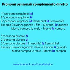 I pronomi personali complemento diretto