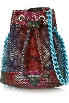 House of Holland Mini Bucket snake-effect leather shoulder bag | NET-A-PORTER
