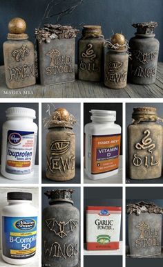 DIY Spell bottles with Hot Glue & (chalk) paint. by wylene