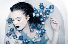 Girl in water with flowers Bath Photography, Photography Themes, Underwater Photography, Fashion Photography, Engagement Photography, Water Shoot, Dark Beauty Magazine, Blue Lipstick, Girl In Water