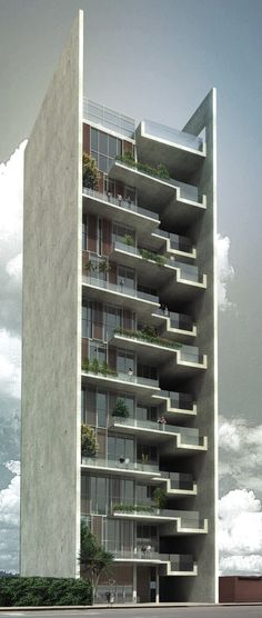 The initiative is ARQUIA, real estate company interested in making architectural competitions in the world, which sees the need to create a new type of residential building for one of the most charming areas of Lima The design of the residential bui - # Building Elevation, Building Exterior, Building Facade, Building Design, High Building, Architecture Design, Futuristic Architecture, Residential Architecture, Amazing Architecture