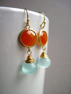 Wire Wrapped Aqua Chalcedony and Orange by NellBelleDesigns, $39.00