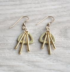 Triangle gold earrings small dangle earrings gold by SharonTasker