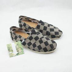 8a00fdb3b2a Mens Toms Black Plaid Classic Flax Shoes For Sale