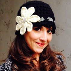 Women's Crochet Hat Chunky Cloche Hat with a Large by sofiapinelli, $45.00