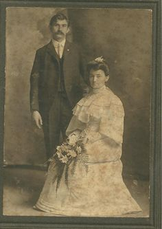 Vintage CABINET Photo Bride and Groom Black and White 1900s WEDDING Texas Koehler