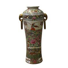 Chinese Oriental Famille Rose Porcelain People Birds Scenery Vase