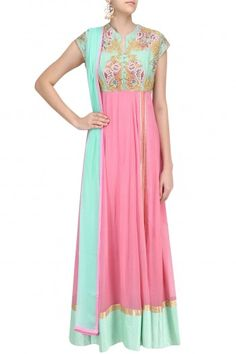 Breathe By Aakanksha And Nupur Pink and Blue Floral Embroidered Anarkali Kurta Set #happyshopping #shopnow #ppus