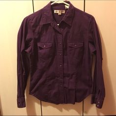 Button down shirt Royal purple snap button, button up Oxford shirt. Any questions just ask!!  ** NOT polo just listed so to get views! Polo by Ralph Lauren Tops Button Down Shirts