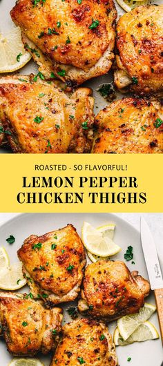 This is a delicious chicken thighs recipe! If you need a cheap dinner idea to make this week, try this Lemon Pepper Chicken Thighs recipe. It's oven-baked, made of simple ingredients, easy and inexpensive to make but loaded with lemon pepper flavors. #roastedchicken #roastedchickenthighs #ovenabakedchicken #lemonpepperchicken #lemonpepperseasoning Ground Chicken Recipes, Yummy Chicken Recipes, Chicken Thigh Recipes, Turkey Recipes, Delicious Recipes, Easy Recipes, Healthy Recipes, Chicken Thighs In Oven, Roasted Chicken Thighs