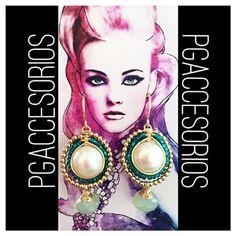 PG #pgaccesorios #chapadeoro #goldplated #aretes #earrings #handmade #handmadejewerly #handmadearrings #joyeria #hechoamano #hechoenmexico #accesorios #perla #crisoprasa