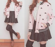 Cute white top with a black skirt and a pink and black Letterman jacket with bows and black knee high socks and reddish brown boots - Korean Fashion