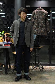 HARRIS WHARF LONDON boxy jacket - NG Tartan/tweed × DESCENTE ALLTERRAIN H/S CARDIE
