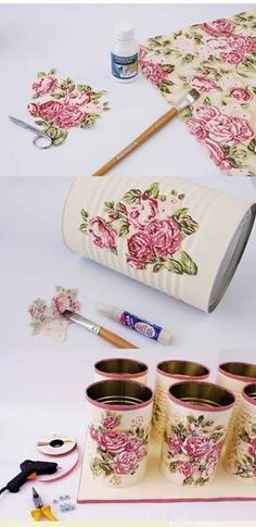 bathroom organization diy ideas decoupage fabric tin cans towels Tin Can Crafts, Diy Arts And Crafts, Home Crafts, Diy Crafts, Recycle Cans, Diy Recycle, Recycling, Craft Storage, Towel Storage