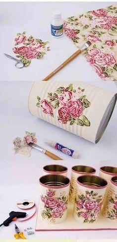 bathroom organization diy ideas decoupage fabric tin cans towels Tin Can Crafts, Diy Arts And Crafts, Home Crafts, Diy Crafts, Recycle Cans, Diy Recycle, Recycling, Diy Y Manualidades, Craft Storage