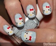 Cute and Creative Hello Kitty Nail Art Designs http://hative.com/cute-hello-kitty-nail-art-designs/