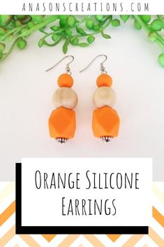 Our newest Silicone dangle earrings will definitely meet your fancy according to your mood of the day. These orange silicone dangle earrings are 100% handmade using silicone and raw timber beads. Absolutely reaction free, you can rest assured these earrings are 100% hypoallergenic for your sensitive ears. #handmadeearrings #sensitiveearsfashion Orange Earrings, Sensitive Ears, Stainless Steel Earrings, Earrings Handmade, Orange Color, Dangles, Rest, Fancy, Mood