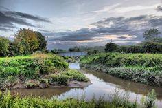 River Parrett joined by River Tone, Burrowbridge, Somerset, England, UK